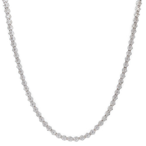 ELANZA AAA Simulated White Diamond Necklace (Size 18) in Rhodium Plated Sterling Silver