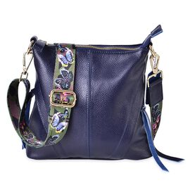 DOD - 100% Genuine Leather Navy Blue Colour Crossbody Bag with Butterfly Pattern Removable Shoulder Strap (Size 25x23x8)
