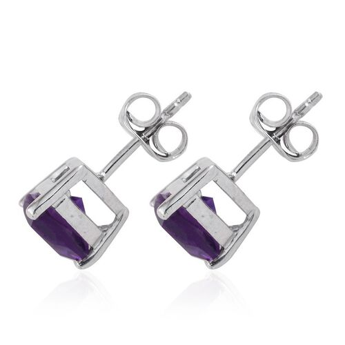 Lusaka Amethyst (Trl) Stud Earrings (with Push Back) in Platinum Overlay Sterling Silver 2.000 Ct.