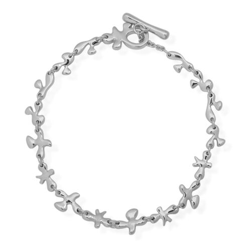LucyQ Fine Splat Bracelet (Size 7.75) in Rhodium Plated Sterling Silver 8.70 Gms.