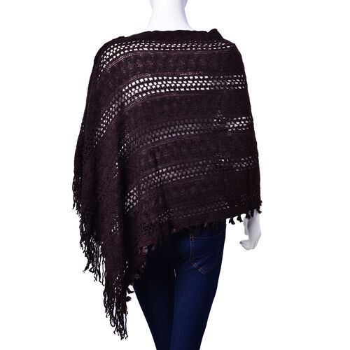 Designer Inspired Chocolate Colour Poncho with Tassels (Free Size)