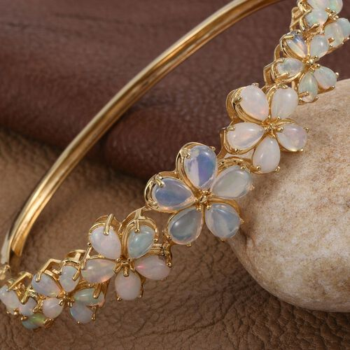 Ethiopian Welo Opal (Pear) Floral Bangle (Size 7.5) in 14K Gold Overlay Sterling Silver 6.500 Ct.