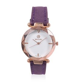 STRADA Japanese Movement White Austrian Crystal Studded Water Resistant Watch in Rose Gold Tone with Purple Colour Strap.