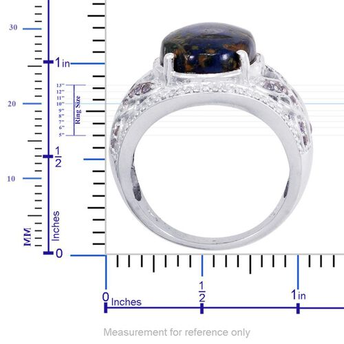 Designer Collection Azurite (Ovl 7.86 Ct), Tanzanite and Diamond Ring in Platinum Overlay Sterling Silver 8.630 Ct. Silver wt 7.00 Gms.