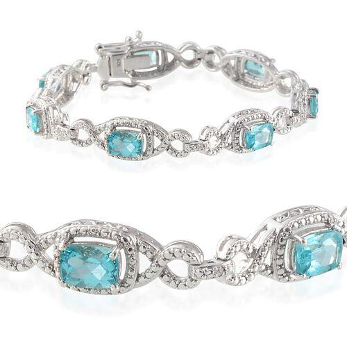 Paraiba Apatite (Cush), Diamond Bracelet in Platinum Overlay Sterling Silver (Size 7.5) 7.270 Ct.