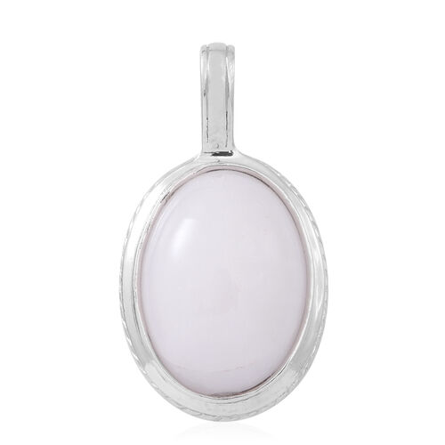 Branco Onyx (Ovl) Pendant in Rhodium Plated Sterling Silver 13.000 Ct. Silver wt 3.00 Gms.