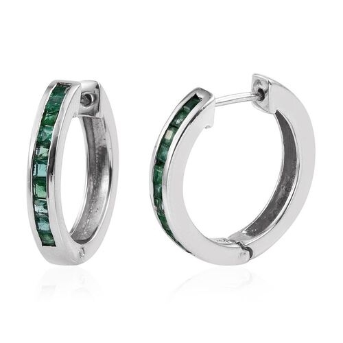 Kagem Zambian Emerald (Sqr) Hoop Earrings (with Clasp) in Platinum Overlay Sterling Silver 1.000 Ct.