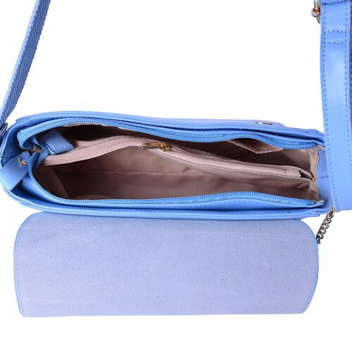 Designer Inspired Genuine Leather Lipstick Design Lock Light Blue Colour Crossbody Bag with External Zipper Pocket and Adjustable Shoulder Strap (Size 23X18X10 Cm)