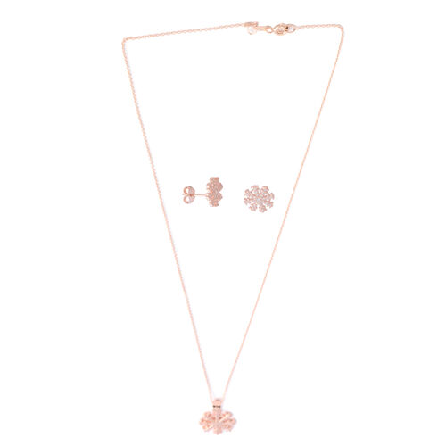 Brilliant Cut Simulated Diamond (Rnd) Pendant with Chain and Earrings (with Push Back) in Rose Gold Overlay Sterling Silver Number of Gemstone 100 Piece