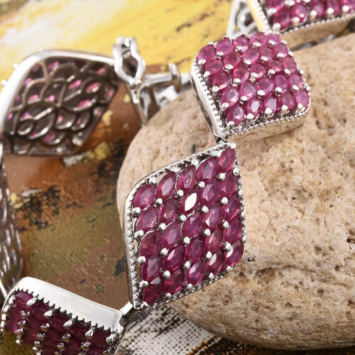 Limited Edition Designer Inspired - African Ruby (Mrq) Bracelet (Size 7.5) in Platinum Overlay Sterling Silver 19.250 Ct.Silver Wt 25.00 Gms Number of Gemstone 175