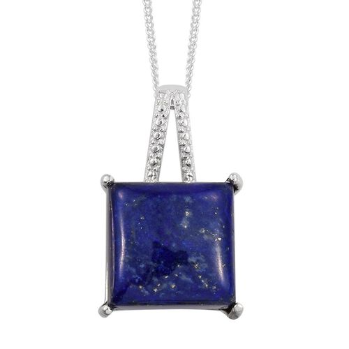 Lapis Lazuli (Sqr) Solitaire Pendant With Chain in Sterling Silver 8.000 Ct.