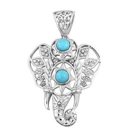 Hand Made Arizona Sleeping Beauty Turquoise (Rnd) Elephant Head Pendant in Sterling Silver 1.320 Ct. Silver wt 7.80 Gms.