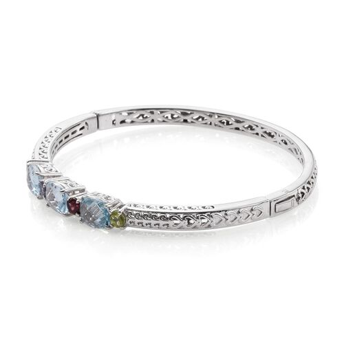 Sky Blue Topaz (Cush), Rhodolite Garnet, Hebei Peridot, Citrine and Iolite Bangle (Size 7.5) in ION Plated Platinum Bond 7.250 Ct.