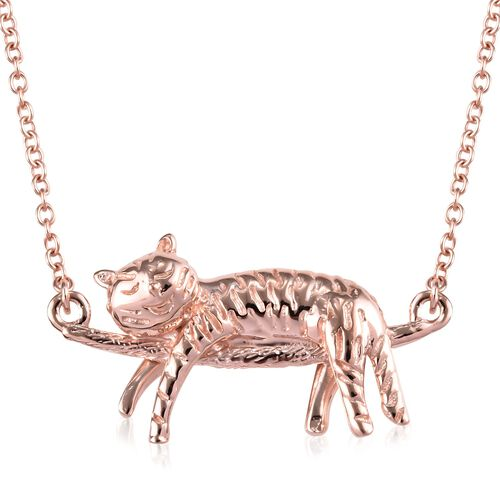Rose Gold Overlay Sterling Silver Cat Necklace (Size 18), Silver wt 5.00 Gms.