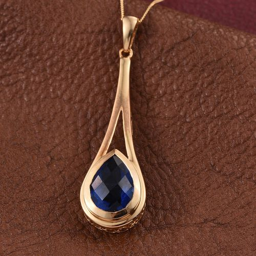 Ceylon Colour Quartz (Pear) Solitaire Pendant With Chain in 14K Gold Overlay Sterling Silver 5.500 Ct.