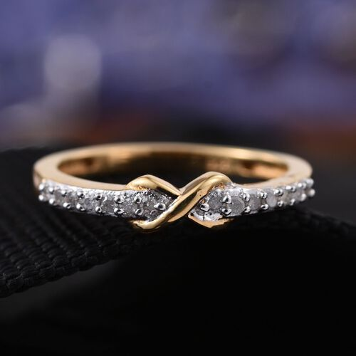 Diamond Promise Infinity Silver Ring in 14K Gold Overlay 0.150 Ct.