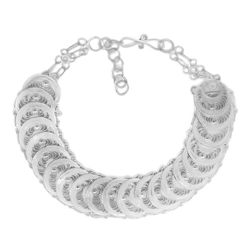 Istanbul Collection- Sterling Silver Quilled Circle Bracelet (Size 8 with Extender), Silver wt 10.52 Gms.