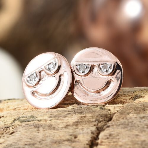 Diamond Happy Smiley Stud Earrings (with Push Back) in Rose Gold Overlay Silver, Silver wt 1.30 gms