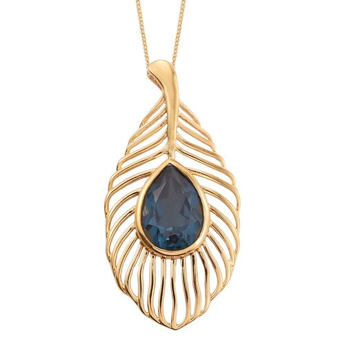 Indicolite Quartz (Pear) Peacock Feather Pendant With Chain in 14K Gold Overlay Sterling Silver 6.250 Ct. Silver wt 5.42 Gms.