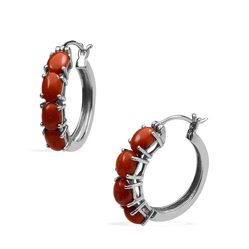 Natural Mediterranean Coral (Ovl) Hoop Earrings (with Clasp) in Platinum Overlay Sterling Silver 3.500 Ct.