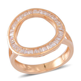 ELANZA AAA Simulated Diamond (Bgt) Circle of Life Ring in Yellow Gold Overlay Sterling Silver