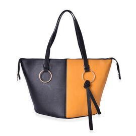 Black and Yellow Colour Tote Bag with External Zipper Pocket (Size 44x30x27x20)