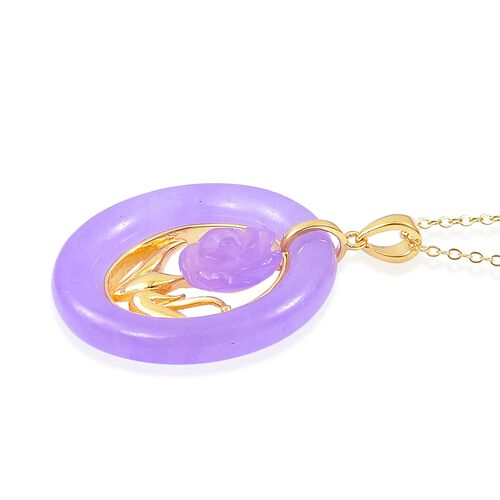Limited Edition- Rare AAA Purple Jade Floral Pendant With Chain in Yellow Gold Overlay Sterling Silver 29.000 Ct