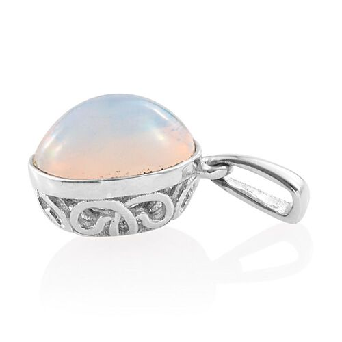 AA Ethiopian Welo Opal (Ovl) Solitaire Pendant in Platinum Overlay Sterling Silver 1.500 Ct.
