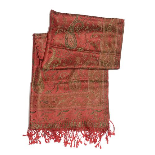 SILK MARK - 100% Superfine Silk Green and Multi Colour Paisley and Leaves Pattern Red Colour Jacquard Jamawar Shawl with Fringes (Size 180x70 Cm) (Weight 125-140 Grams)