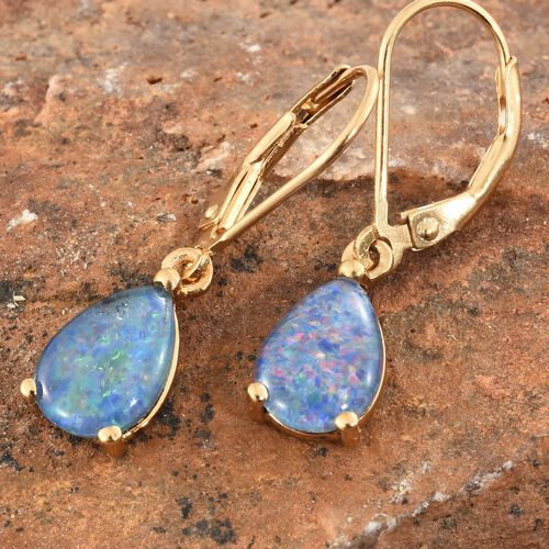 Australian Boulder Opal (Pear) Lever Back Earrings in 14K Gold Overlay Sterling Silver 2.750 Ct.