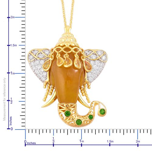 Honey Jade, Yellow Sapphire, Russian Diopside and Natural White Cambodian Zircon Elephant Head Pendant With Chain (Size 30) in Yellow Gold Overlay Sterling Silver 43.650 Ct.