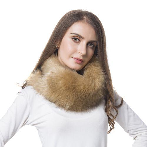 Chocolate Colour Faux Fur Snood (Size 38x16 Cm)