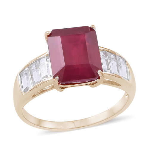 African Ruby (Oct 5.00 Ct), White Topaz Ring in 14K Gold Overlay Sterling Silver 6.500 Ct.