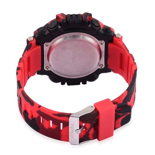 STRADA Electronic Movement LED Display Watch with Stainless Steel Back and Red Camouflage Silicone Strap