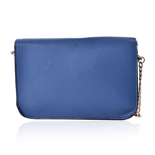 Blue Colour Crossbody Bag with Chain Strap (Size 21x14x4 Cm)