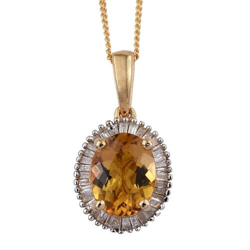 Marialite (Ovl 1.50 Ct), Diamond Pendant With Chain in 14K Gold Overlay Sterling Silver 1.750 Ct.