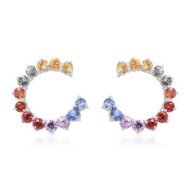 Rainbow Sapphire (Rnd) Earrings (with Push Back) in Rhodium Plated Sterling Silver 1.750 Ct.