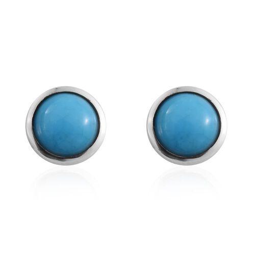 RHAPSODY 950 Platinum AAAAA Arizona Sleeping Beauty Turquoise (Rnd) Stud Earrings (with Screw Back) 1.250 Ct.