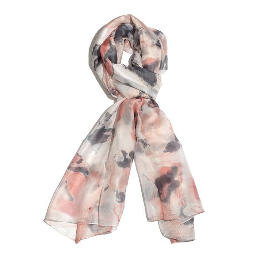 100% Mulberry Silk Pink, Silver and Multi Colour Printed Stole (Size 180x100 Cm)