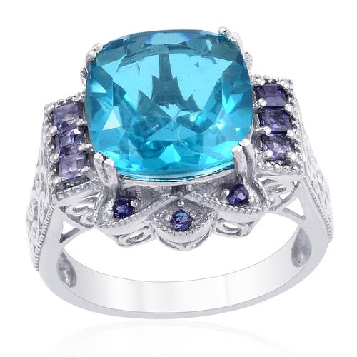 Designer Collection Capri Blue Quartz (Cush 5.75 Ct), Iolite Ring in Platinum Overlay Sterling Silver 6.660 Ct.