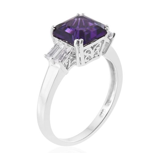 ASSCHER CUT Amethyst, White Topaz Ring in Platinum Overlay Sterling Silver 3.250 Ct.