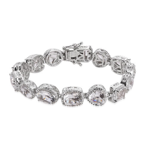 20.63 Ct White Topaz and Natural Cambodian Zircon Bracelet in Platinum Plated Silver 28.25 gms 7.25 Inch