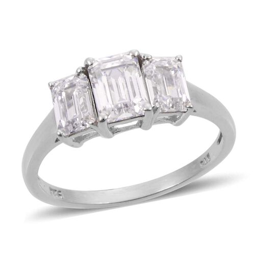 J Francis - Platinum Overlay Sterling Silver (Oct) 3 Stone Ring Made With SWAROVSKI ZIRCONIA 2.380 Ct.