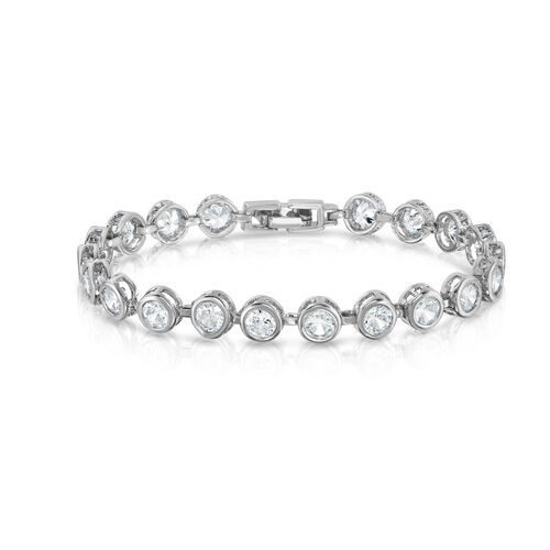 Designer Inspired AAA Simulated Diamond (Rnd) Bracelet (Size 7) in Silver Bond