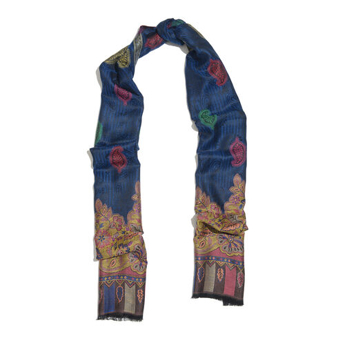 One Time Deal-Reversible Blue, Pink and Multi Colour Floral, Butterfly and Paisley Pattern Jacquard Weave Design Scarf with Fringes (Size 190X70 Cm)