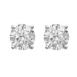 ILIANA 18K W Gold AGI Certified Diamond (Rnd) (SI/G-H) Stud Earrings (with Screw Back) 0.500 Ct.