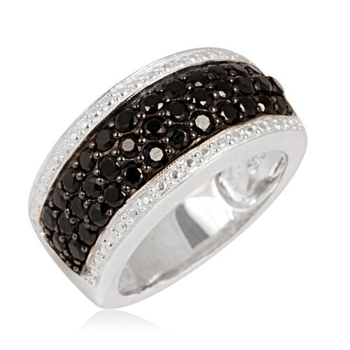 Boi Ploi Black Spinel (Rnd) Ring in Rhodium Plated Sterling Silver 2.000 Ct.