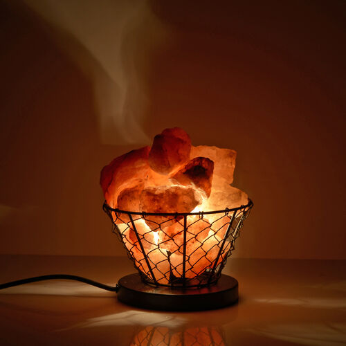 Natural Pink Himalayan Rock Salt Basket Lamp - With 1.6KG Salt Bag - Bowl