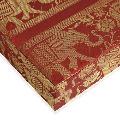 Hand Crafted Eco Friendly - Jacquard Elephant Weave Zari Art Work Maroon Colour 100 Slot Ring Box (Size 25.5x25.5x6.5 Cm)