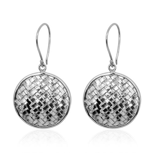 Royal Bali Bamboo Weave Collection Sterling Silver Hook Earrings, Silver wt 6.47 Gms.